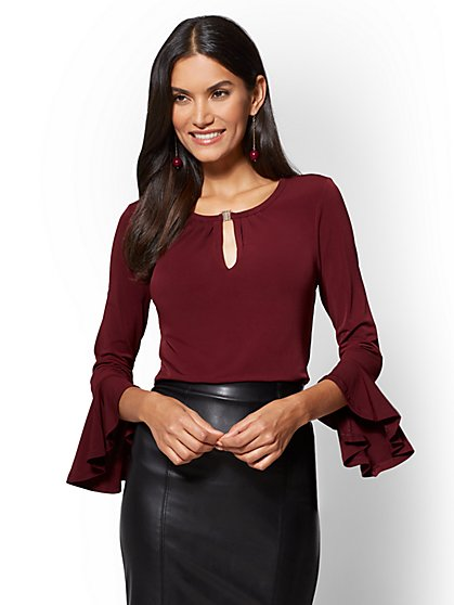7th Avenue - Flounced-Sleeve Keyhole Blouse - New York & Company