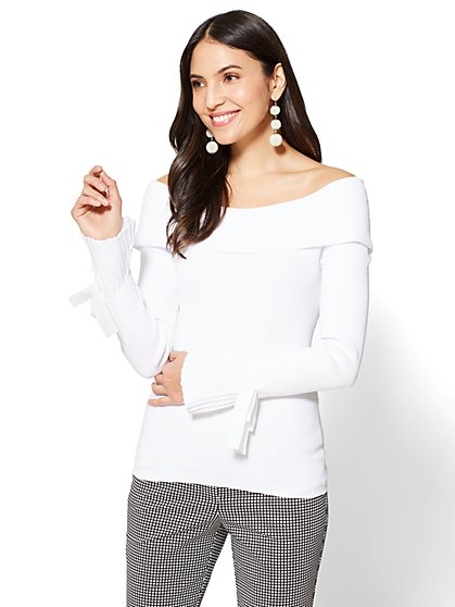 7th Avenue - Flounced-Sleeve Off-The-Shoulder Sweater - New York & Company
