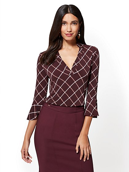 7th Avenue - Flounced-Sleeve Split-Neck Top - Plaid - New York & Company