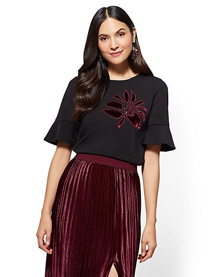 7th Avenue - Flounced-Sleeve Top - Embroidered & Jeweled - New York & Company