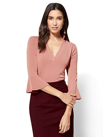 7th Avenue - Flounced-Sleeve V-Neck Top  - New York & Company