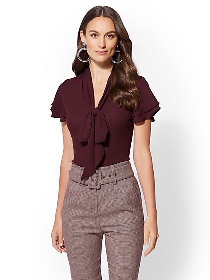 7th Avenue - Flutter-Sleeve Bow Blouse - New York & Company