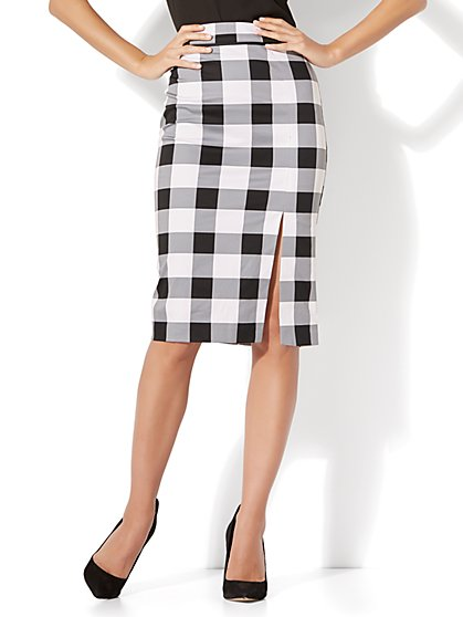 7th Avenue - Front Slit Pencil Skirt - Modern - Gingham - Petite - New York & Company