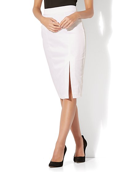 7th Avenue - Front Slit Pencil Skirt - Modern - Twill - Petite - New York & Company