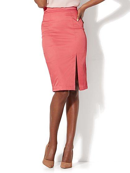 7th Avenue - Front Slit Pencil Skirt - Modern - Twill - New York & Company