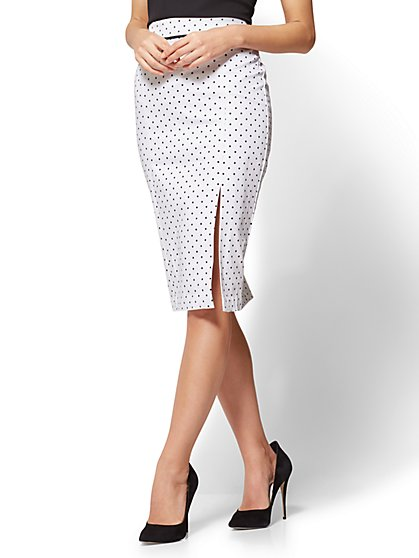 7th Avenue - Front Slit Pencil Skirt - Modern - White Polka Dot - New York & Company