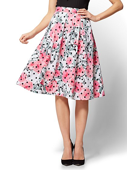 7th Avenue - Full Pleated Skirt - Floral & Dot Print - New York & Company