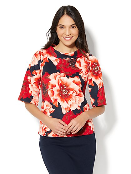 7th Avenue - Funnel-Neck Bell-Sleeve Top - Red Floral - New York & Company