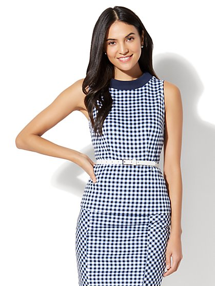 7th Avenue - Funnel-Neck Peplum Top - Gingham - New York & Company