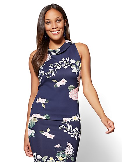 7th Avenue Funnel-Neck Top - Navy Floral - New York & Company