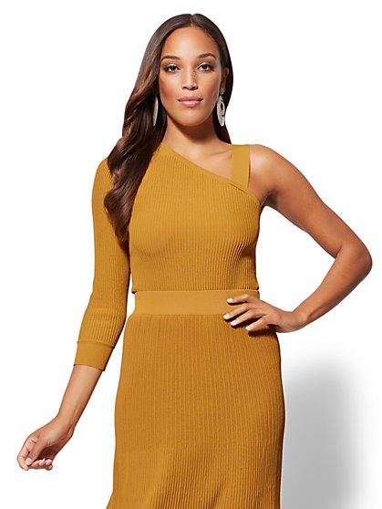 7th Avenue - Gold One-Shoulder Sweater - New York & Company