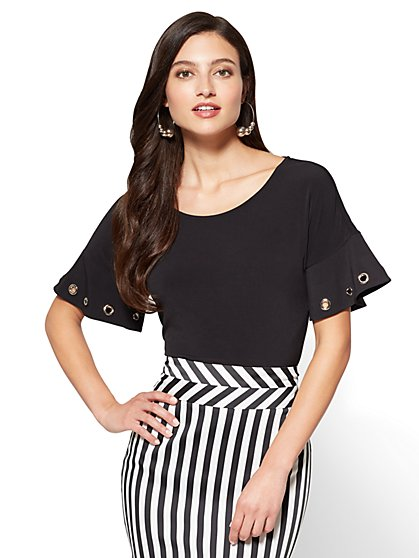 7th Avenue - Grommet-Accent Flounce-Sleeve Tee - New York & Company