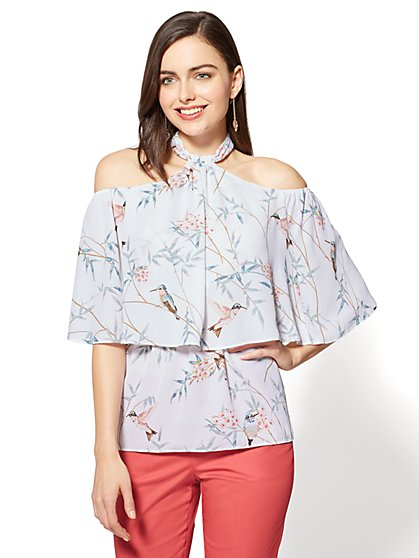7th Avenue Halter Blouse - Bird Print - New York & Company
