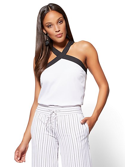 7th Avenue - Halter Blouse - Black & White - New York & Company