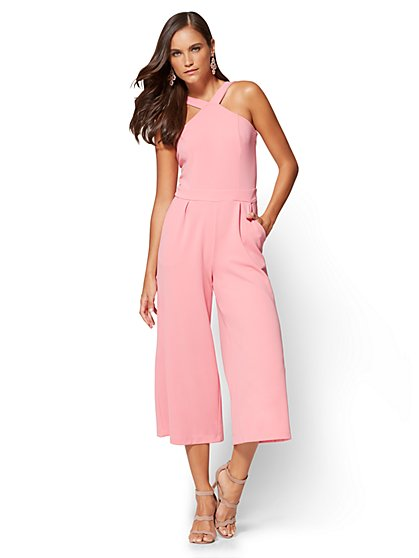 7th Avenue Halter Culotte Jumpsuit - Pink - New York & Company