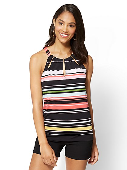 7th Avenue - Hardware-Accent Halter Top - Stripe - New York & Company