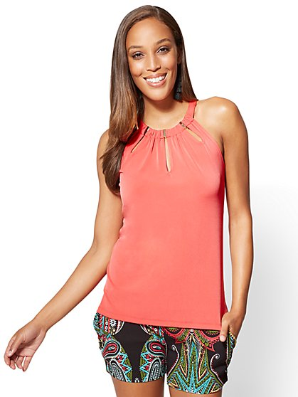 7th Avenue - Hardware-Accent Halter Top - New York & Company