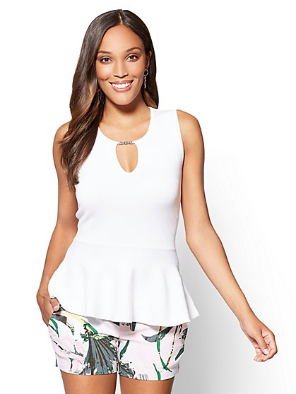 7th Avenue Hardware-Accent Peplum Sweater - New York & Company