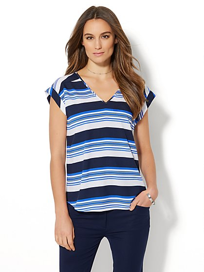 7th Avenue - Hi-Lo Blouse - Stripe - New York & Company
