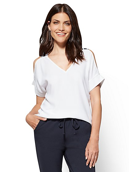 7th Avenue - Hi-Lo Cold-Shoulder Blouse - New York & Company
