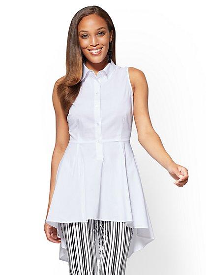 7th Avenue - Hi-Lo Sleeveless Poplin Shirt - New York & Company