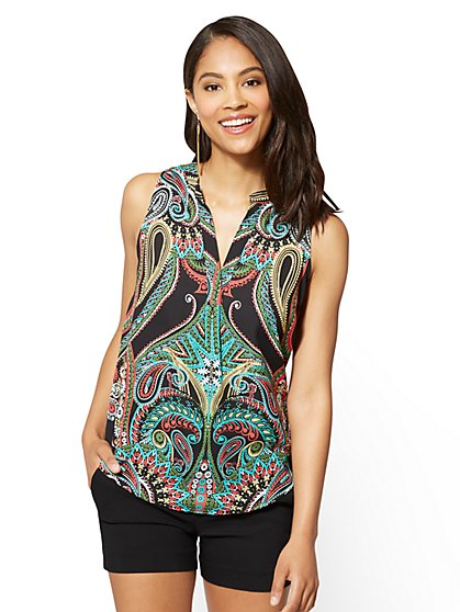 7th Avenue - Hi-Lo Split-Neck Blouse - Print - New York & Company