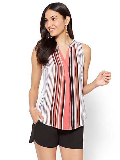 7th Avenue - Hi-Lo Split-Neck Blouse - Stripe - Petite - New York & Company