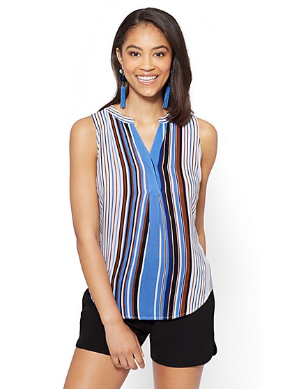 7th Avenue - Hi-Lo Split-Neck Blouse - Stripe - New York & Company