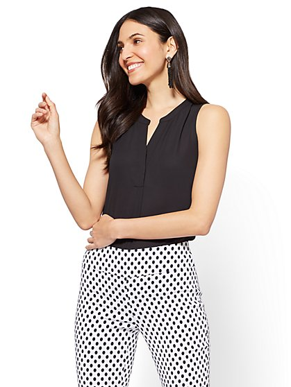 7th Avenue - Hi-Lo Split Neck Blouse - New York & Company