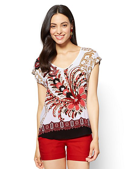 7th Avenue - Hi-Lo V-Neck Blouse - Mixed Print - Petite - New York & Company