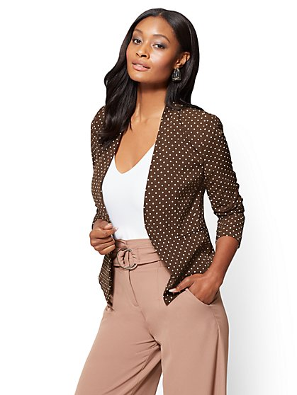 7th Avenue Jacket - Collarless - Brown - New York & Company