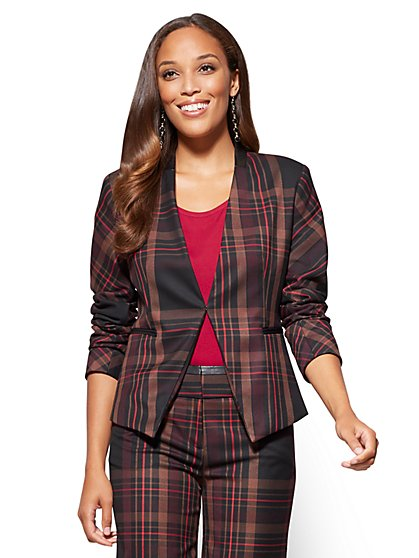 7th Avenue - Jacket - Collarless - Burgundy - Plaid - New York & Company