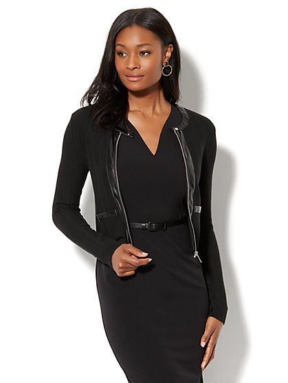 7th Avenue Jacket - Faux-Leather Trim Knit  - New York & Company