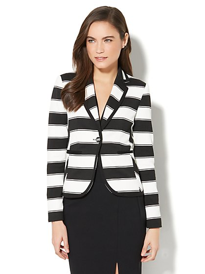 7th Avenue Jacket - One-Button - Black & White Stripe - New York & Company