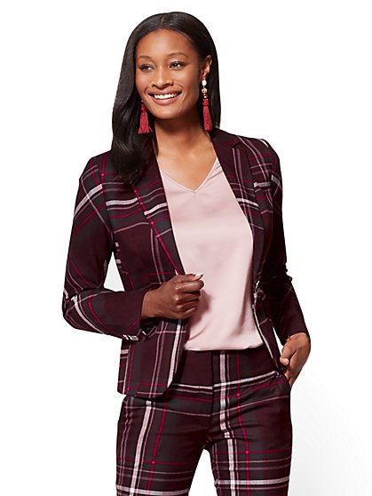 7th Avenue Jacket - One-Button - Modern - Burgundy - Plaid - New York & Company