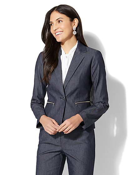 7th Avenue Jacket - One-Button - Modern - Zip Accent - Navy - Tall - New York & Company