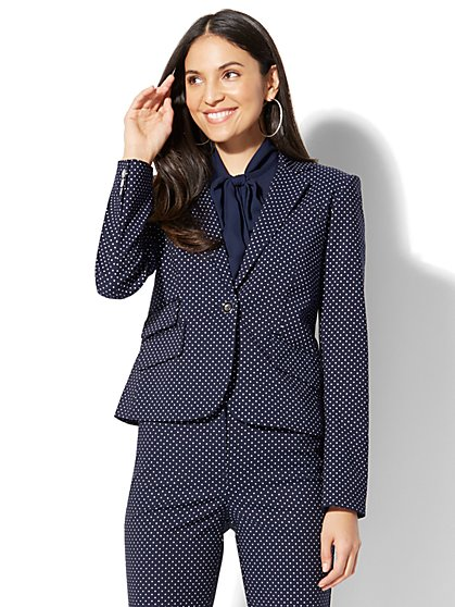7th Avenue Jacket - One-Button - Navy Pindot - Petite - New York & Company