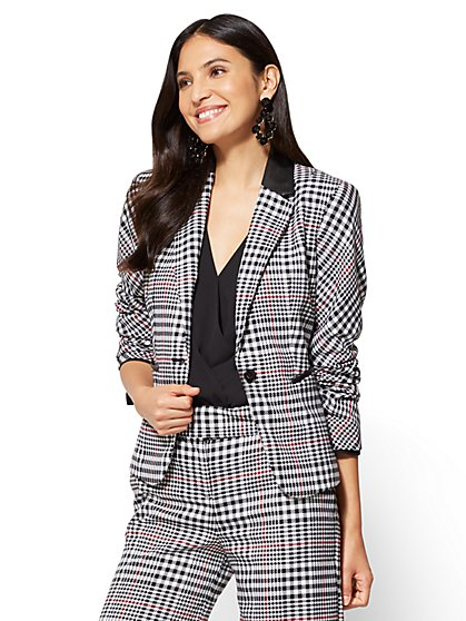 7th Avenue - Jacket - One-Button - Ruffle-Back - Plaid  - New York & Company