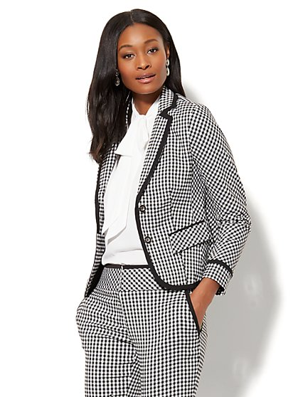 7th Avenue Jacket - Two-Button - Gingham - New York & Company