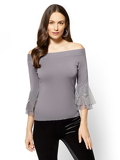 7th Avenue - Jeweled Tulle Sleeve Off-The-Shoulder Sweater - New York & Company