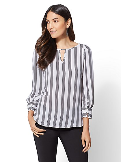 7th Avenue - Keyhole Hi-Lo Blouse - New York & Company