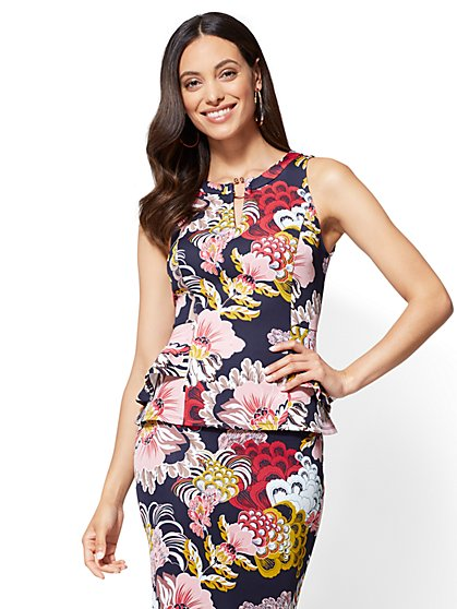 7th Avenue - Keyhole Peplum Shell - Floral - New York & Company