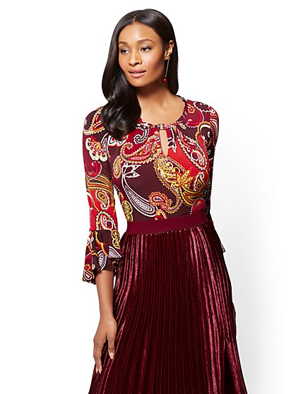 7th Avenue - Keyhole Scoopneck Top - Paisley - New York & Company