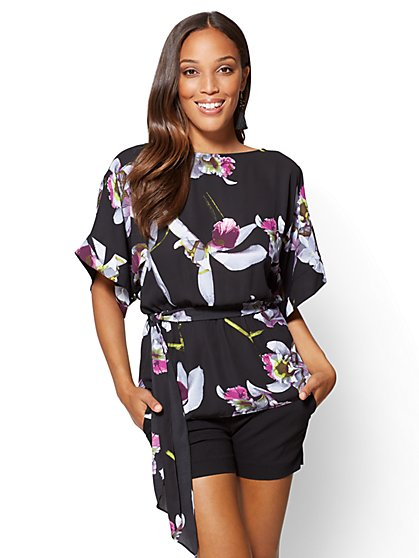 7th Avenue - Kimono Blouse - Floral - New York & Company