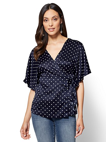 7th Avenue - Kimono Top - Navy - Polka-Dot Print - New York & Company