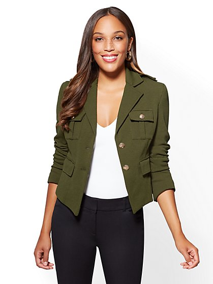 7th Avenue - Knit Military Jacket - New York & Company