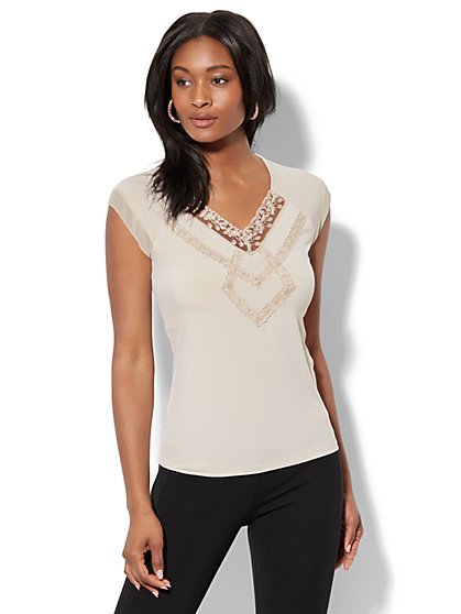 7th Avenue - Lace-Accent Cap-Sleeve Top - New York & Company