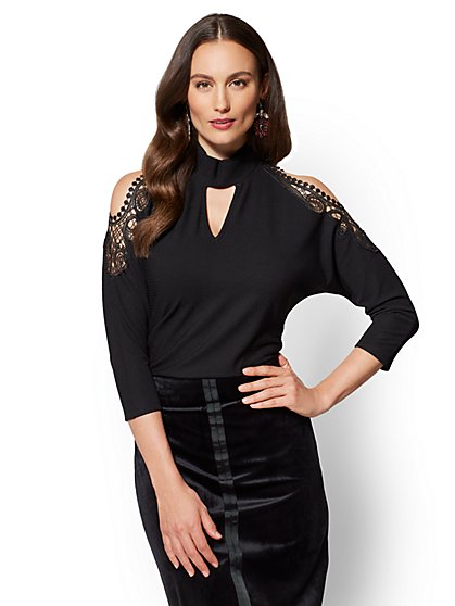 7th Avenue - Lace-Accent Cold-Shoulder Top - New York & Company