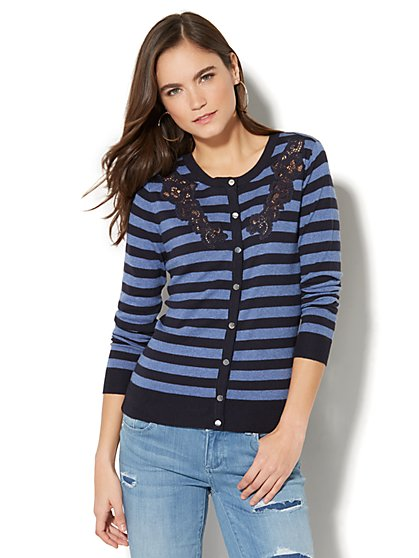 7th Avenue - Lace-Accent Crewneck Chelsea Cardigan - Stripe - New York & Company