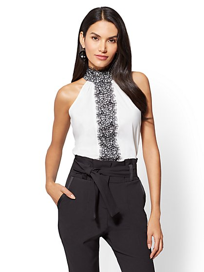 7th Avenue - Lace Accent Halter Blouse - New York & Company